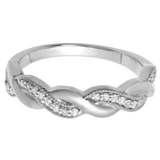 Elora 18K Gold 1/6 ct. TDW Round Cut Diamond Ladies Bridal Anniversary Wedding Band Stackable Swirl Ring (