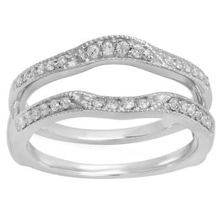 Elora 10k Gold 1/4ct TDW Round Diamond Ladies Millgrain Anniversary Wedding Band Enhancer Double Guard Rin
