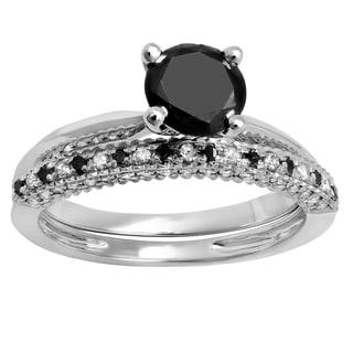 Elora 10K Gold 1 1/2 CT Round Black & White Diamond Bridal Solitaire Engagement Ring Wedding Band Set (Bla