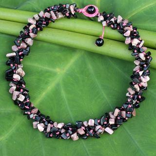 Handcrafted Onyx Rhodochrosite 'Pink Black Flow' Necklace (Thailand)