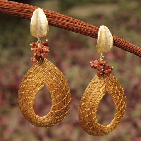 Handmade Golden Grass Gold Overlay 'Solar Chic' Sunstone Earrings (Brazil)