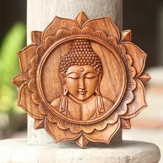 Handcrafted Suar Wood 'Lotus Buddha' Wall Relief Panel (Indonesia)