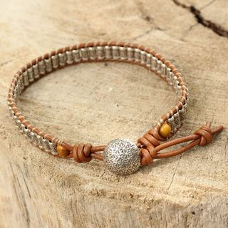 Silver Leather Silver 'Ethnic Chic' Jasper Bracelet (Thailand)