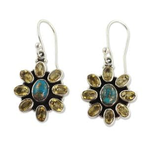 Handcrafted Sterling Silver 'Sunny Sky' Turquoise Citrine Earrings (India)
