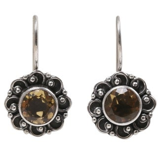 Handcrafted Sterling Silver 'Singaraja Sunflower Yellow' Citrine Earrings (Indonesia)