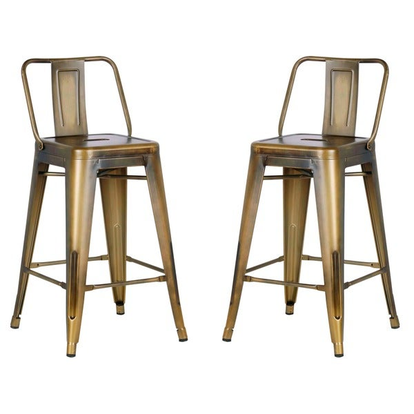 Distressed 24 Inch Metal Barstool With Vintage Finish Set