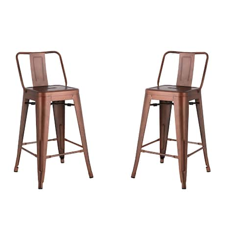 Distressed 24-inch Metal Barstool with Vintage Finish (Set of 2)