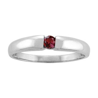 White Gold Single-gem Stackable Mothers Ring