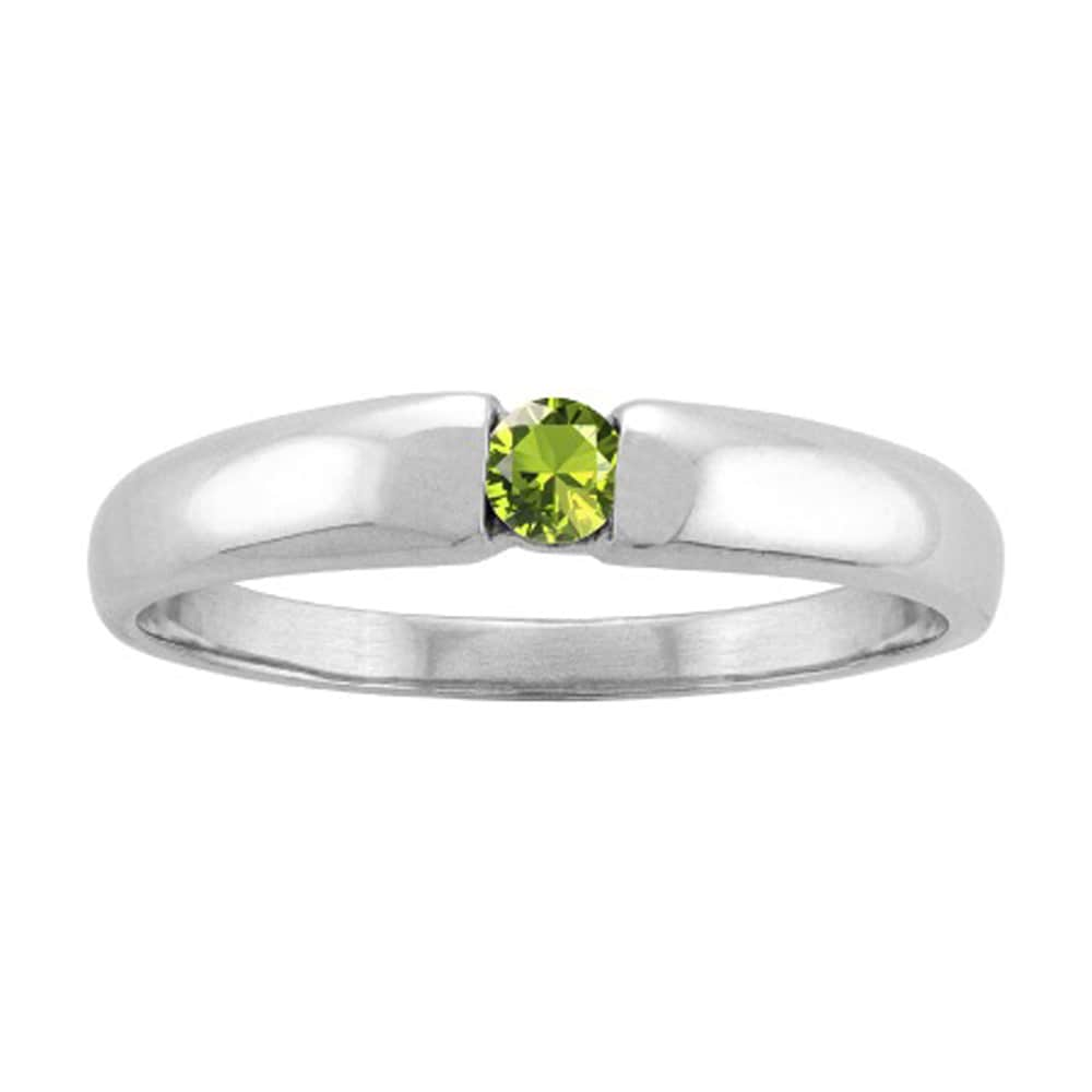 White Gold Single-gem Stackable Mothers Ring (Size 6,Peri...
