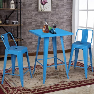 AC Pacific Baby Teal Blue Finish Metal Indoor Bar Table Set with 2 Barstools