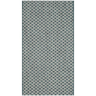 Safavieh Indoor / Outdoor Courtyard Turquoise / Light Grey Rug (3' x 5')