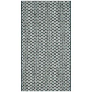 Safavieh Indoor / Outdoor Courtyard Turquoise / Light Grey Rug (3' x 5')