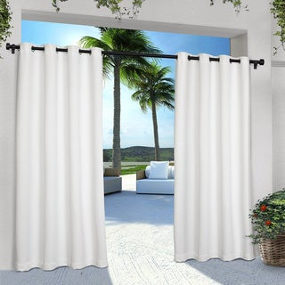 """Exclusive Home Indoor/Outdoor Solid Cabana Grommet Top Curtain Panel Pair 96"""" in White (As Is Item)"""