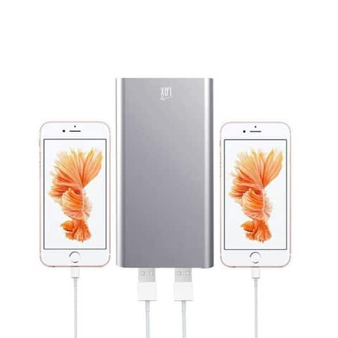 Lax Grey/Pink/Gold/Silver Aluminum/Plastic 10000mAh Hi-speed Dual USB External Battery Power Bank