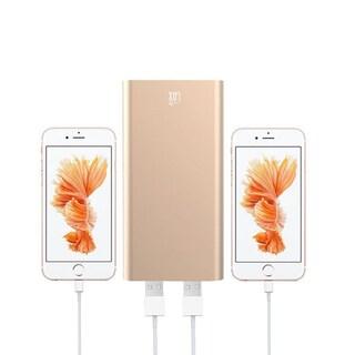 Lax Grey/Pink/Gold/Silver Aluminum/Plastic 10000mAh Hi-speed Dual USB External Battery Power Bank (Option: Gold)