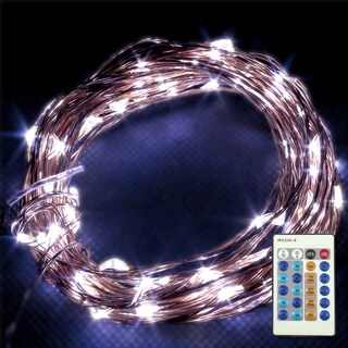 LED Concepts LED Dimmable Copper Wire White String Lights With Remote