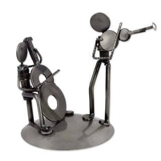 Handcrafted Recycled Auto Parts 'Cello and Violin Duet' Sculpture (Mexico)