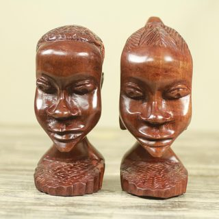 Set of 2 Handcrafted Ebony Wood 'Ghanaian Couple' Sculptures (Ghana)