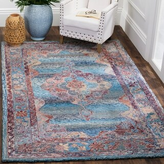 Safavieh Handmade Vintage Oushak Blue Distressed Silky Polyester Rug (3' x 5')