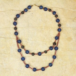 Handcrafted Recycled Glass 'Royalty' Necklace (Ghana)