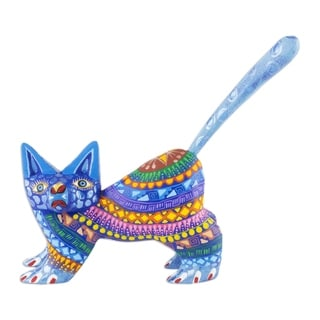 Copal Wood 'Playful Blue Kitten' Alebrije Sculpture (Mexico)