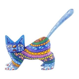 Copal Wood 'Playful Blue Kitten' Alebrije Sculpture (Mexico)