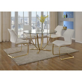 Christopher Knight Home Nicholas Brass Metal and Glass Dining Table