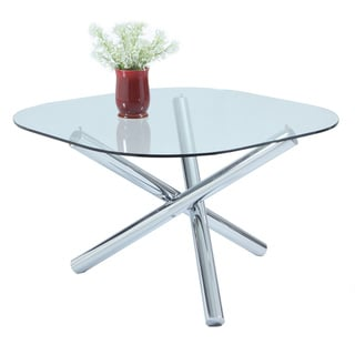 Christopher Knight Home Leah Chrome-finish Metal and Glass Square Round-corner Dining Table