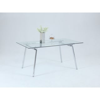 Somette Carla Metal and Glass Dining Table