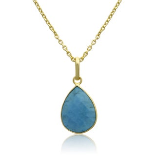 10 Carat Turquoise Pear Shape Necklace In 18 Karat Gold Overlay, Free Chain