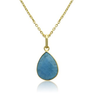 10 TGW Turquoise Pear Shape Necklace In Gold Over Brass, Free Chain