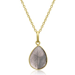 10 Carat Labradorite Pear Shape Necklace In 18 Karat Gold Overlay, Free Chain