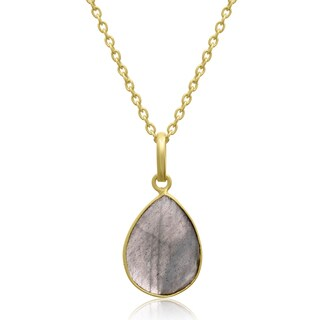 10 TGW Labradorite Pear Shape Necklace In Gold Over Brass, Free Chain