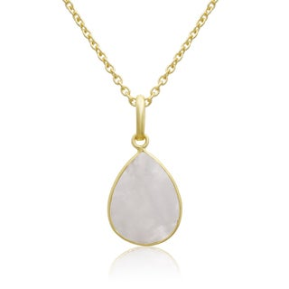 10 TGW Moonstone Pear Shape Necklace In Gold Over Brass, Free Chain (Option: Moonstone)