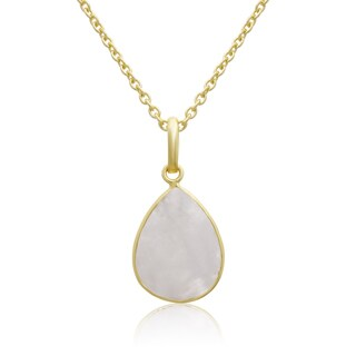 10 TGW Moonstone Pear Shape Necklace In Gold Over Brass, Free Chain