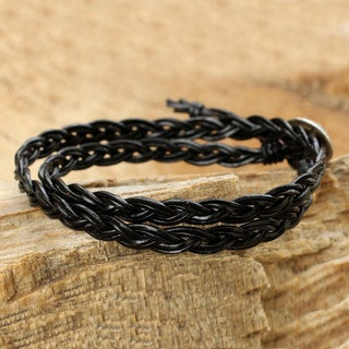 Handcrafted Silver Leather 'Black Braid' Bracelet (Thailand)