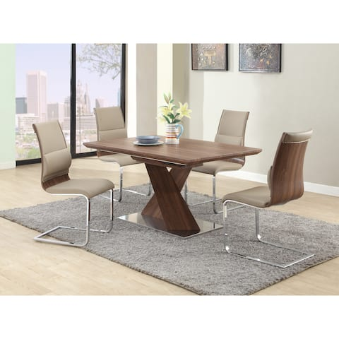 Somette Bethal Chrome-finished Metal and Wood Dining Table - Brown/Chrome