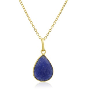 10 TGW Sapphire Pear Shape Necklace In 18 Karat Gold Overlay, Free Chain