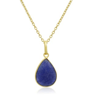10 Carat Sapphire Pear Shape Necklace In 18 Karat Gold Overlay, Free Chain