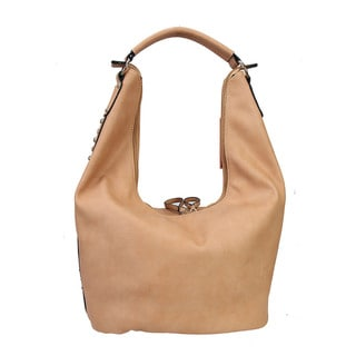 Diophy Studs and Crystals Faux Leather Hobo Handbag