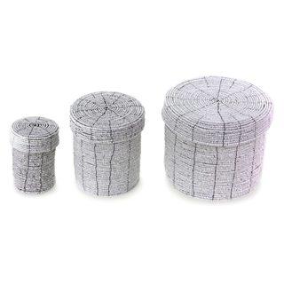 Set of 3 Handmade Beaded 'Sassy White' Nesting Boxes (Indonesia)