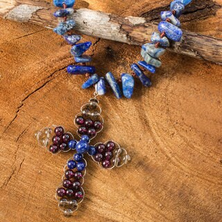 Handcrafted Multi-gemstone 'Precious Cross' Necklace (Thailand)