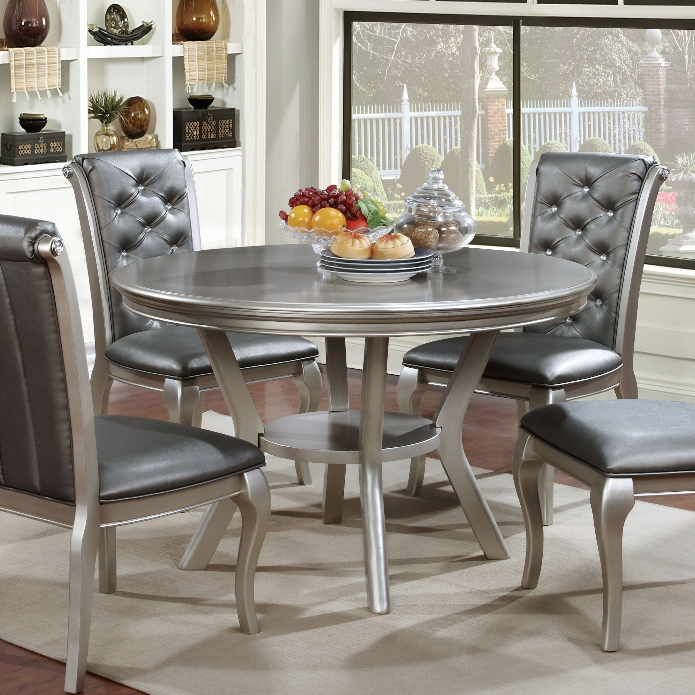Furniture of America Tily Transitional Gold 48-inch Round Dining Table -  Champagne