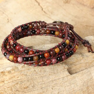 Handmade Silver 'Rhythm of the Season' Multi-gemstone Bracelet (Thailand)