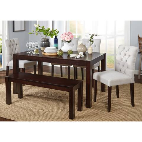 Simple Living Annie Espresso, Grey Rubberwood and Fabric 6-piece Dining Set with Dining Bench
