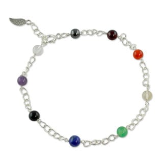 Handcrafted Sterling Silver 'Season of Love' Multi-gemstone Anklet (India)
