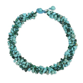 Handcrafted Malachite Calcite 'Blue Green Flow' Necklace (Thailand)