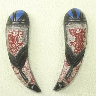 Set of 2 Handcrafted Sese Wood 'Shakpa' African Wall Masks (Ghana)
