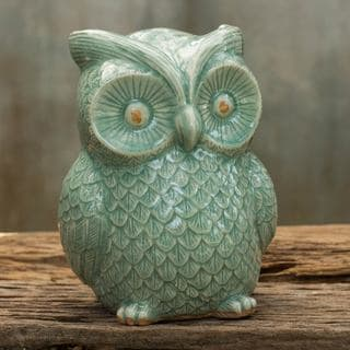 Handcrafted Ceramic 'Light Green Wise Owl' Celadon Statuette (Thailand)