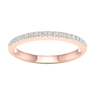 De Couer 10k Rose Gold 1/5ct TDW Wedding Band - Pink
